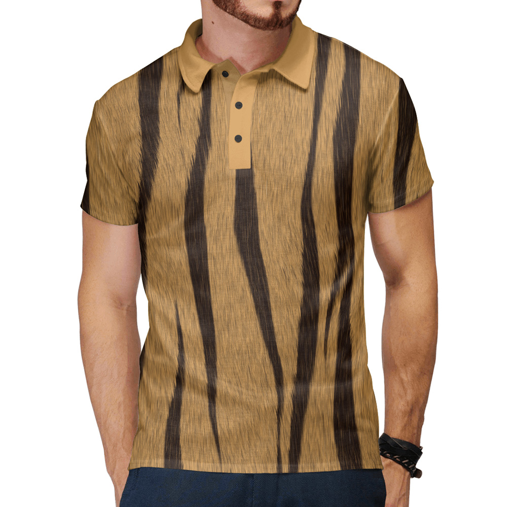 4f1e434338f6b4 Tiger Wool Texture Men s Polo Shirt – Quantum Boutique