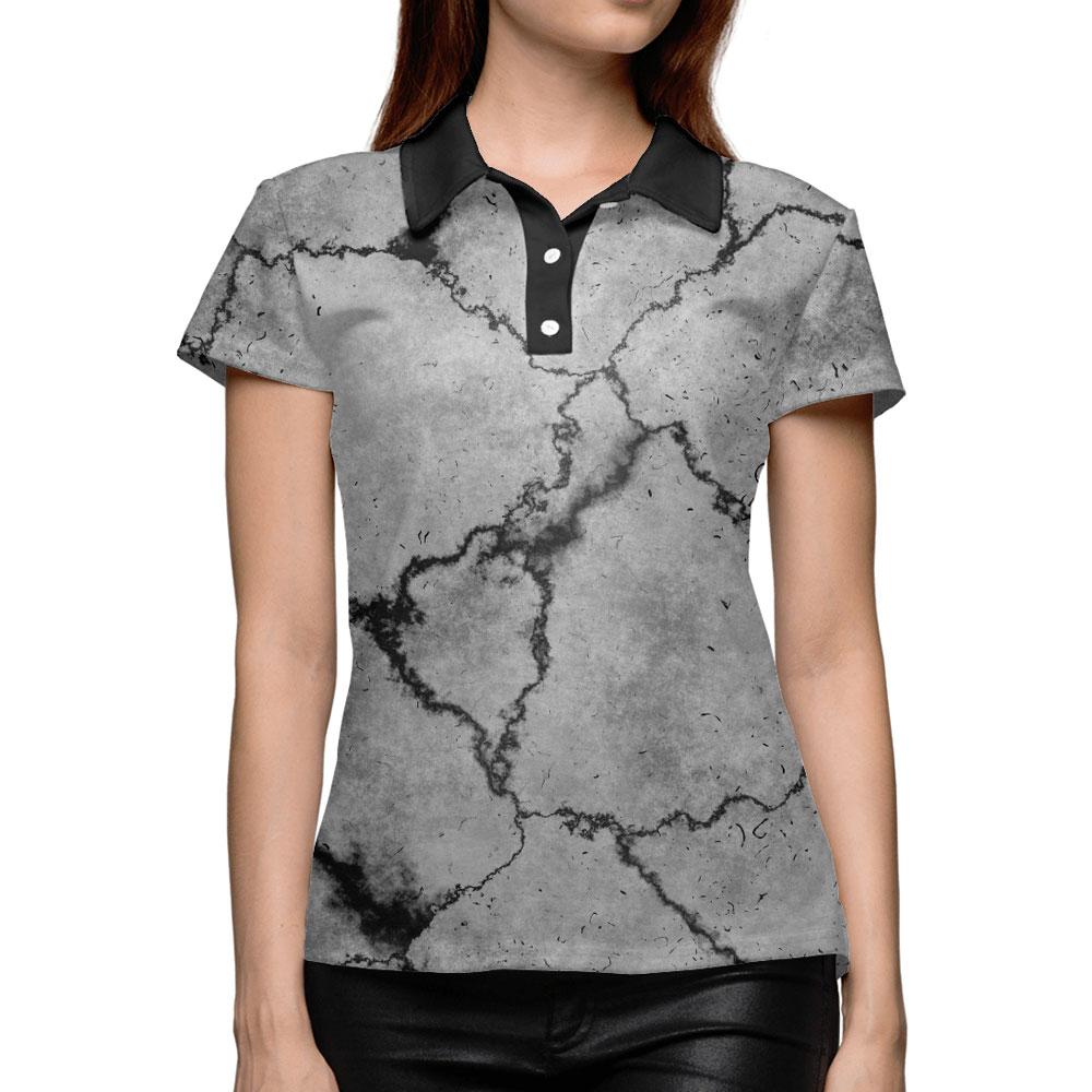 5d70d1c3efac97 Gray Texture Women s Polo Shirt – Сlothing Store