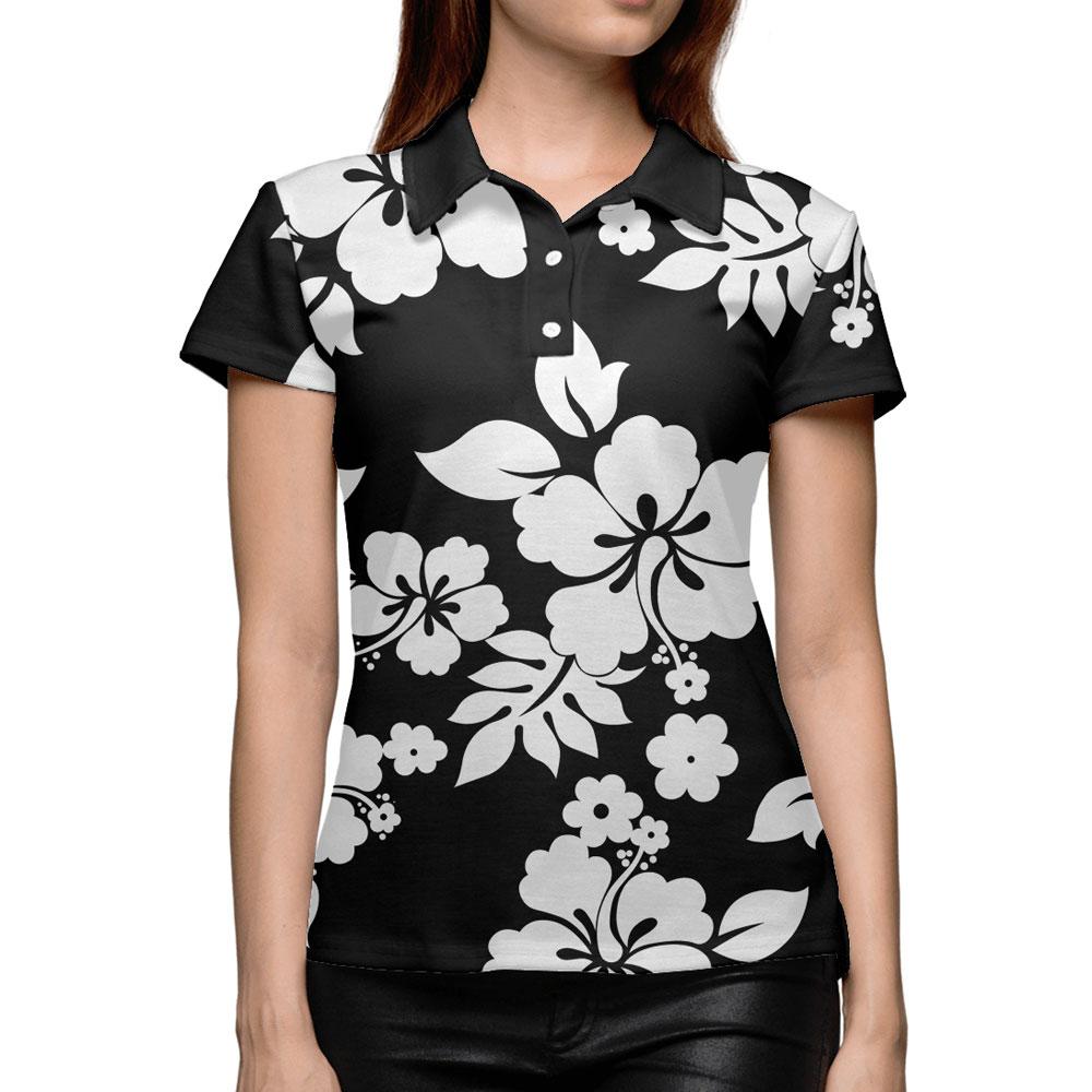 Hawaiian Print Women U2019s Polo Shirt  U2013 Quantum Boutique