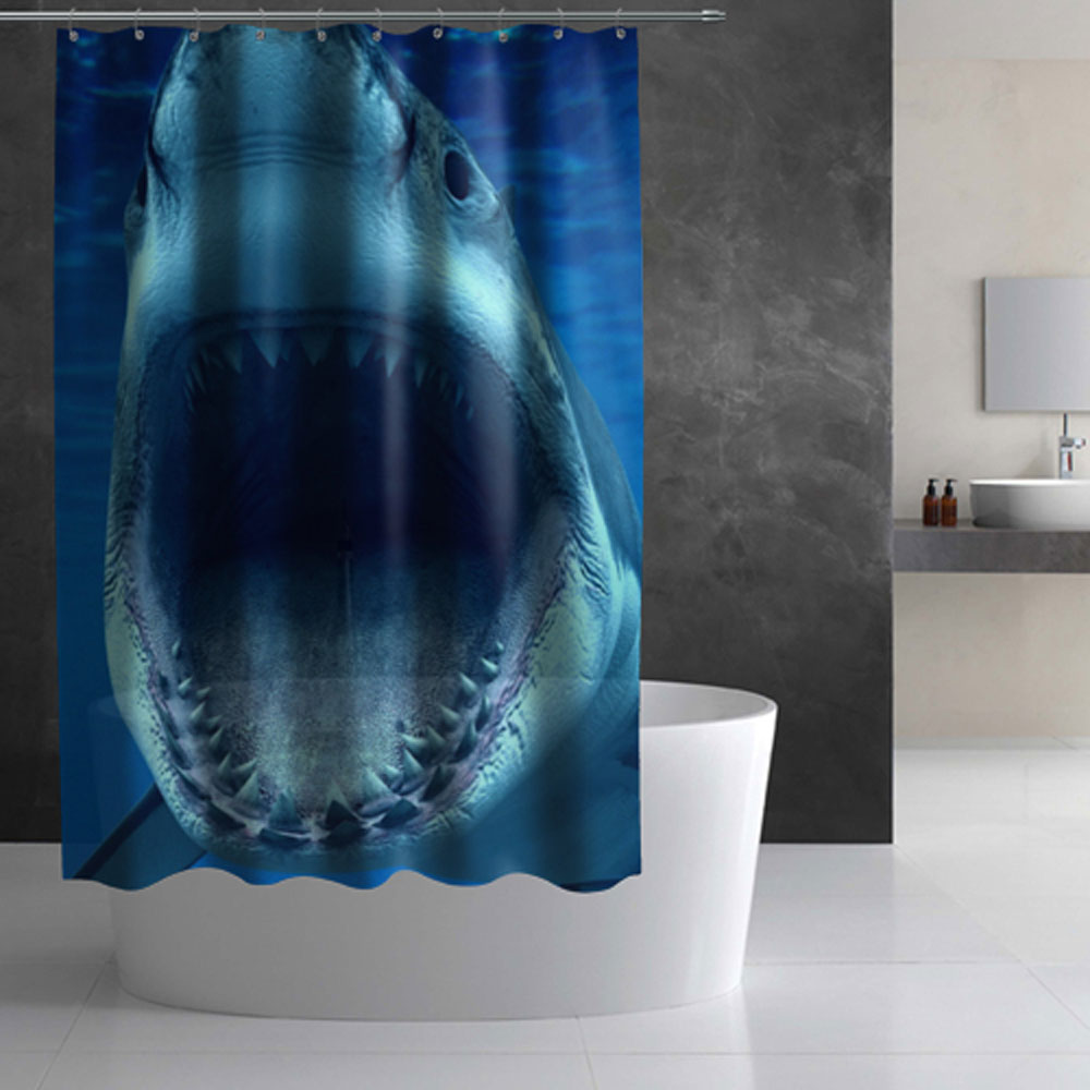 Full Printed Shower Curtain Shark Lothing Store