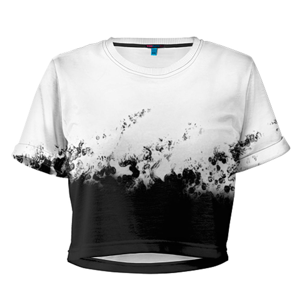 Full printed women s shortened t shirt black n white for Full t shirt printing