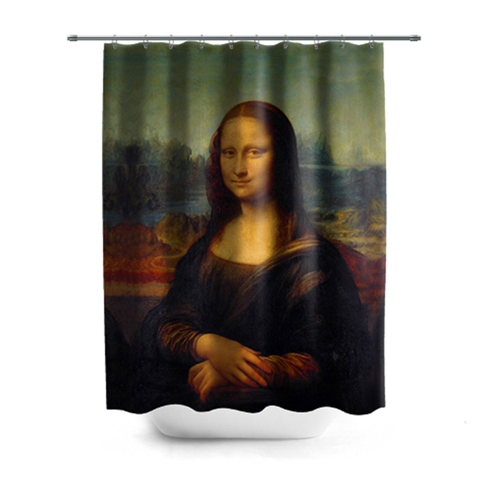 Full printed shower curtain mona lisa lothing store for Mona lisa shower curtain