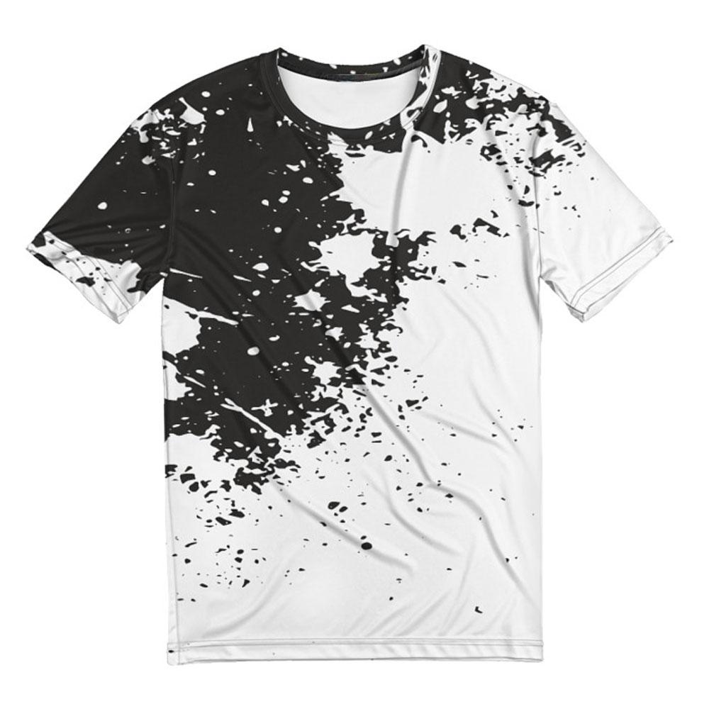 Full printed cool men s t shirt black n white quantum for Full t shirt printing