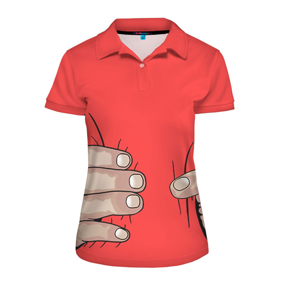 Full printed women s polo shirt hand lothing store for Full hand t shirts for womens