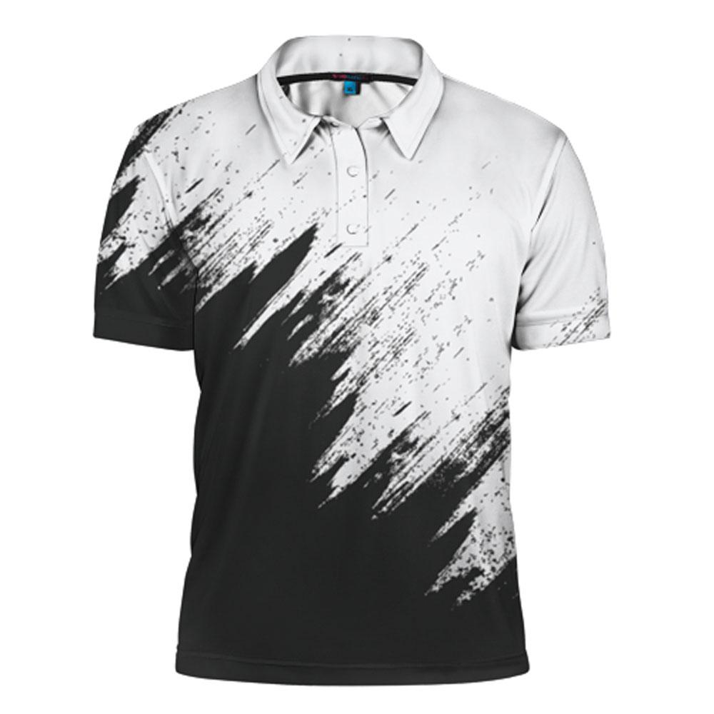 Full printed cool men s polo shirt black n white for Cool mens polo shirts