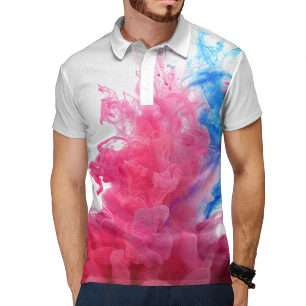 Red And Blue Smoke Mens Polo Shirt Lothing Store Quantum Boutique