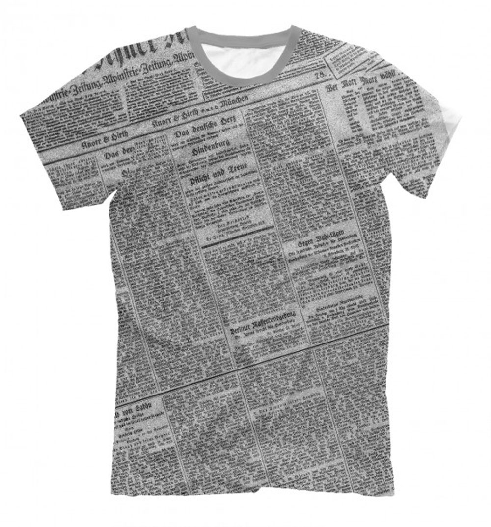 All over print newspaper design t shirt for men lothing for Newspaper t shirt designs