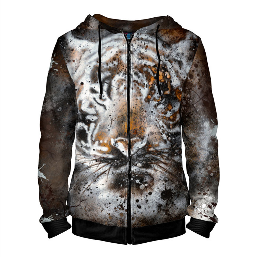 6ab62e9bbdf4a0 Tiger Hoodie with Zipper for Men – Сlothing Store