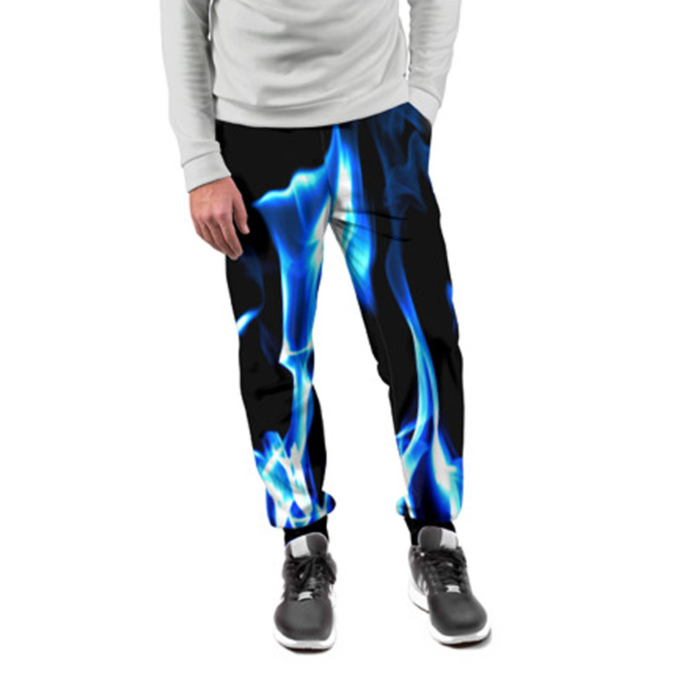 afef1d7ea1b5 Blue Fire 3D Print Cool Pants for Men – Quantum Boutique