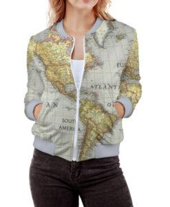 World Map Women\'s Bomber Jacket – Quantum Boutique