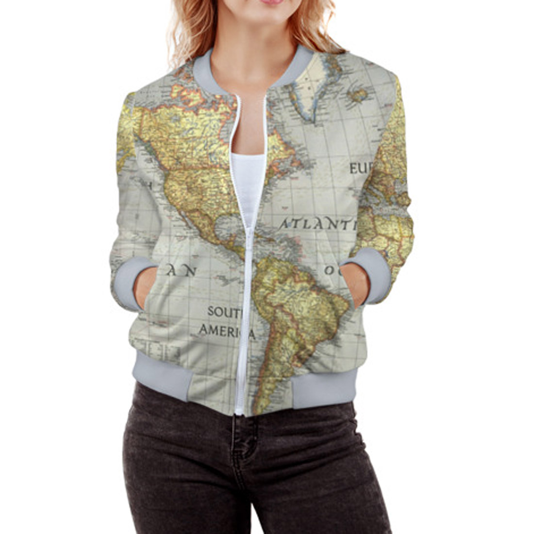 Full printed 3d womens bomber world map lothing store home gumiabroncs Choice Image