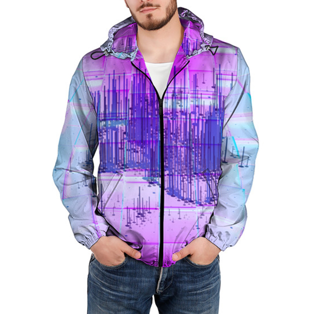 Abstract Pattern Blue Waves Lightweight Mans Jacket with Hood Long Sleeved Zippered Outwear